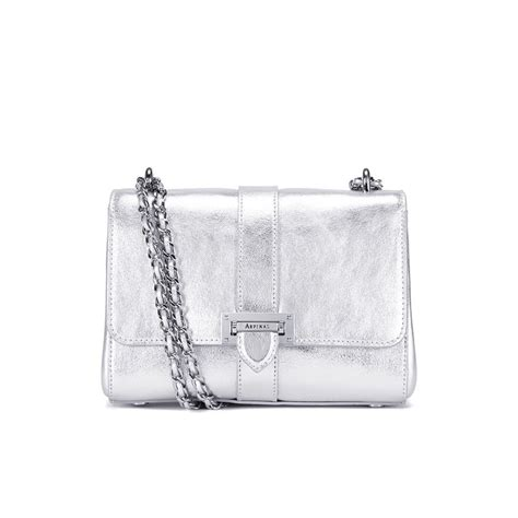 Silver Chainmail Holdall From Warehouse by Aspinal Of Lottie Letterbox Chain Bag Silver Smooth