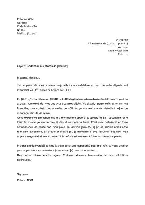 Lettre De Motivation De Licence Pro lettre de motivation licence anglais lettre de