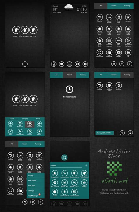 android themes dark metro black theme android go launcher ex by gseth on