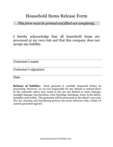 household items release form template