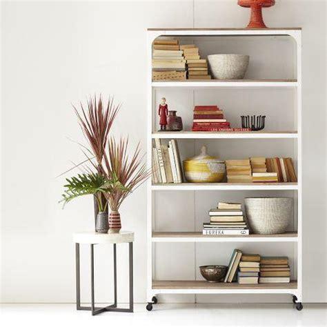 whitewashed wood metal shelves west elm