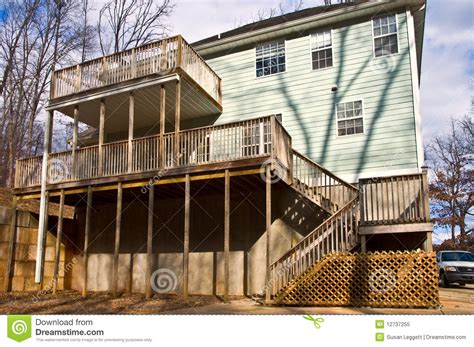 decks on houses rear decks on a house stock image image of concrete 12737255