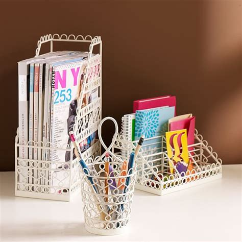 doodles wire desk collection wire scallop desk accessories set of 3 pbteen