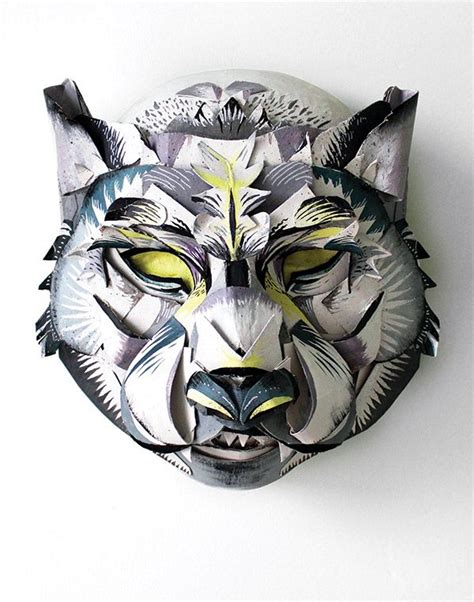 Papercraft Wolf Mask - snow leopard mask jacqui oakley material object