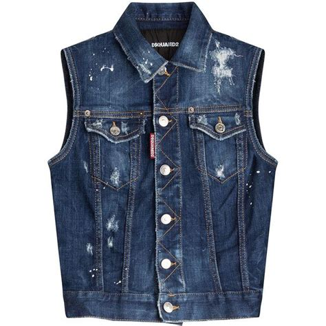 blue pattern waistcoat dsquared2 denim vest 400 liked on polyvore featuring