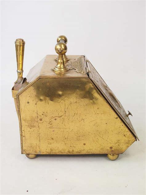 antique arts crafts brass coal scuttle log bin