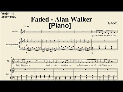 alan walker faded piano faded alan walker piano sheet music by mmc easy key