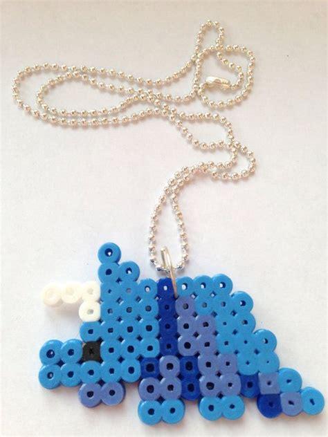 perler dinosaur perler bead blue dinosaur necklace