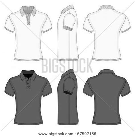 Men S White And Black Short Sleeve Polo Shirt And T Shirt Design Templates Front Back And Side Collar Shirt Design Template