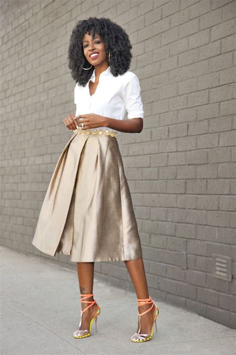 Shirt Pleated Skirt classic button up shirt gold pleated midi skirt style