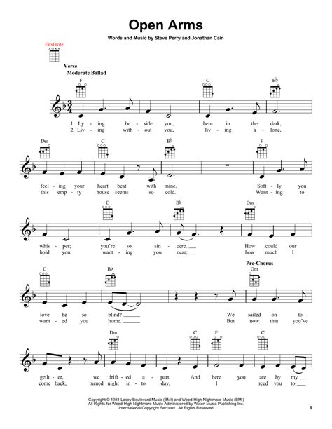 tutorial piano open arms open arms sheet music by journey ukulele 151867