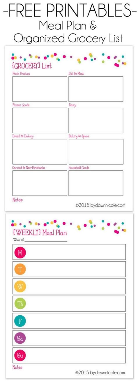monthly meal plan and free printable monthly meal planner template
