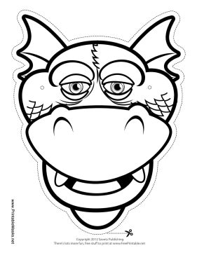 printable silly dragon mask to color mask