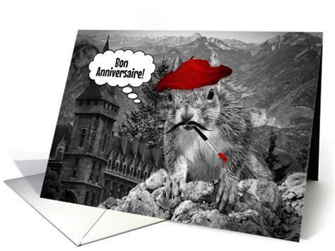 French Language Birthday Funny French Squirrel Painter