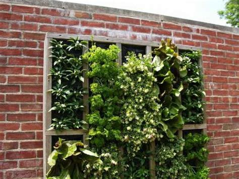 Vertical Gardening Ideas Gardening Landscaping Vertical Herb Garden With Wall Brick Design Vertical Herb Garden