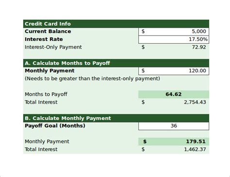 Excel Formula To Calculate Credit Card Payoff Date Credit Card Payoff Calculator 9 Free Documents In Pdf Excel