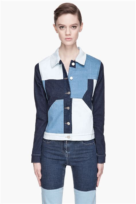 Patchwork Jacket - lyst surface to air blue patchwork cropped denim jacket