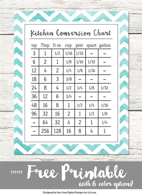 conversion table salted caramels glitter and tables attractive free kitchen printables gift best kitchen
