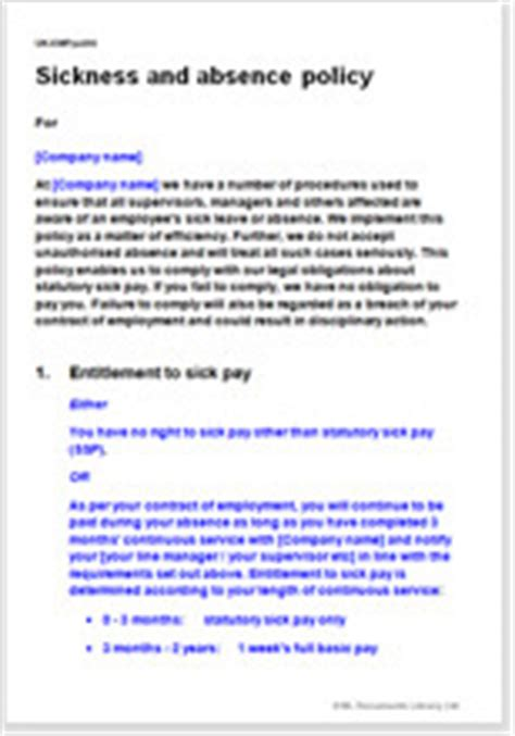 employee sickness absence policy template
