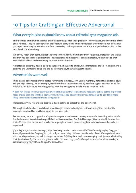 Effective Essay Writing Tips by 10 Tips For Writing An Effective Advertorial