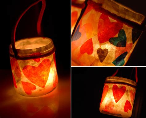 Tissue Paper Lantern Craft - lanterns of tissue paper with hearts