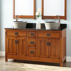 dual sink bathroom vanity 60 quot american craftsman double vessel sink vanity rustic