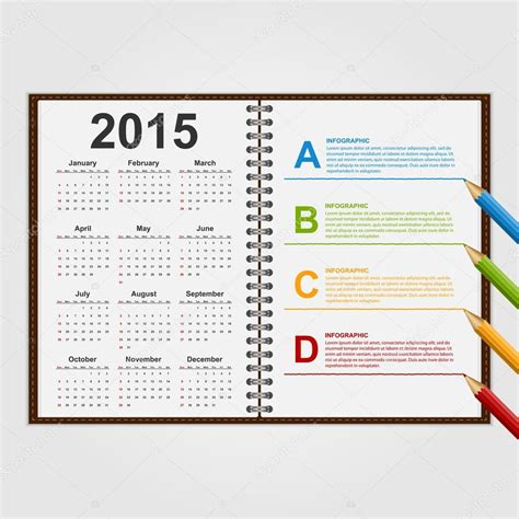 notebook design template infographics design template open notebook with calendar