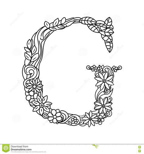 coloring page vector letter g coloring book for adults vector stock vector