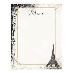 menu borders template eiffel tower menu vintage style letterhead zazzle