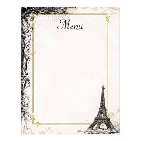 eiffel tower menu vintage french style letterhead zazzle