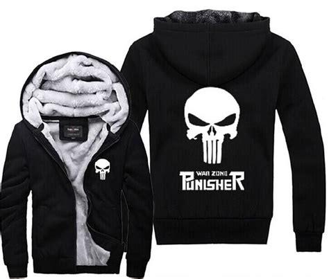 Jaket Zipper Hoodie Sweater Punisher Hitam 3 best punisher skull graphic warm thicken fleece mens zip up hoodie black 106 54