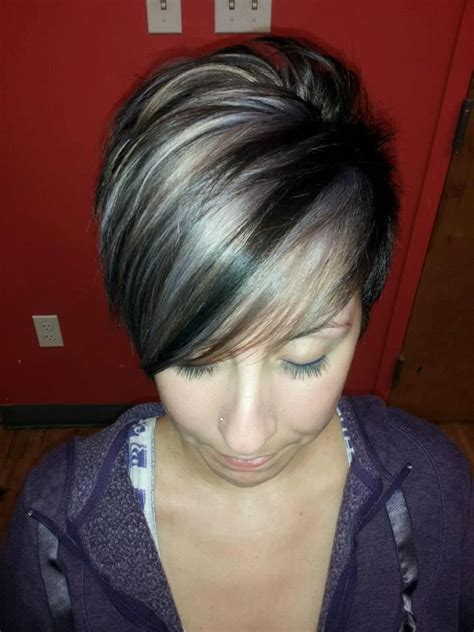 short hair cuts with dark brown color with carmel highlights colors grey hair gray hair hair colors brunettes hair
