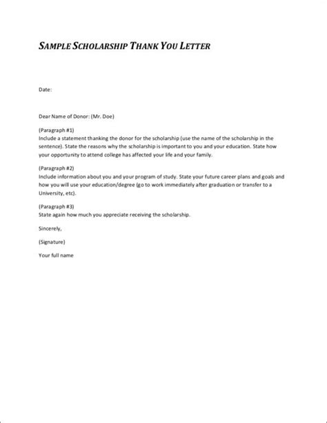 Scholarship Thank You Letter Handwritten 9 thank you letter sles templates in doc