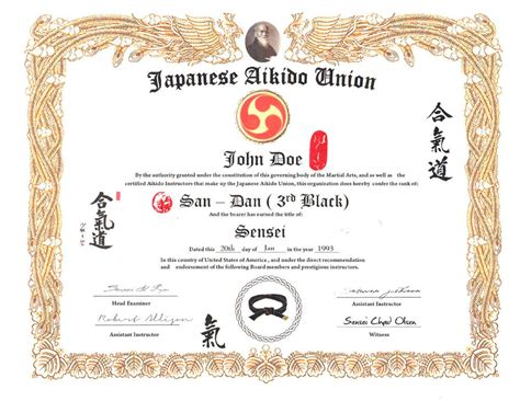 Japanese Martial Arts Certificate Templates Gallery Certificate Design And Template Martial Arts Gift Certificate Template