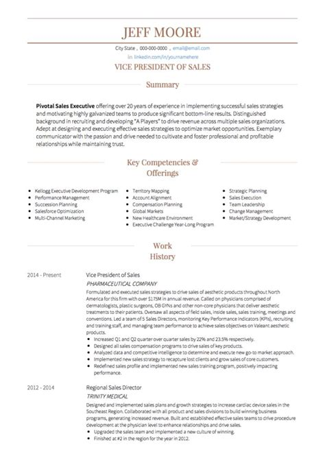 sle of resume for a sales cv exles and template