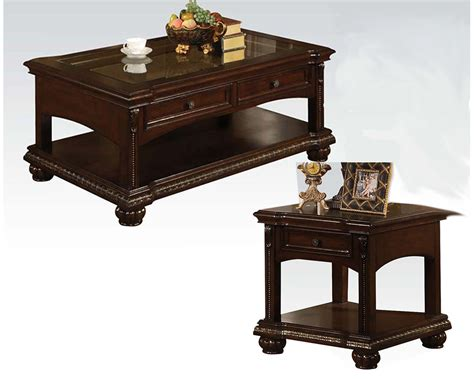 Cherry Coffee Table Sets Traditional Coffee Table Set In Cherry Anondale By Acme Ac10322set