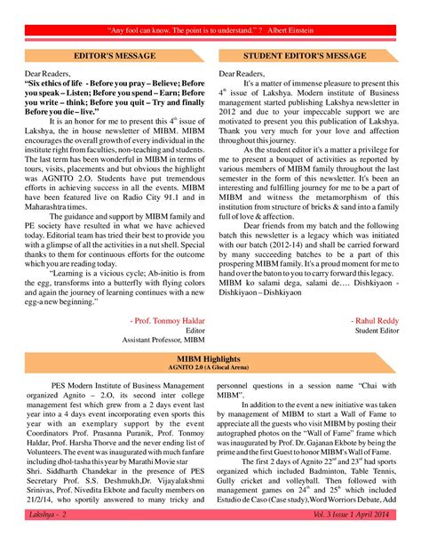 Uwt Mba And Summer News Letter by Mibm Newsletter