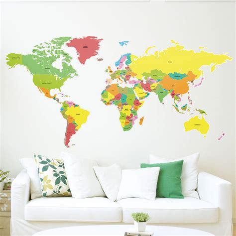 map wall decal countries of the world map wall sticker by the binary box