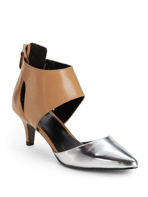 Shoe And Dolly Dagger Team Up For An Exclusive Shoe Range by Kelsi Dagger Deedee Colorblock Cutout Heels In Silver