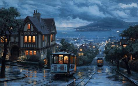 landscape  evening journey street city painting eveni