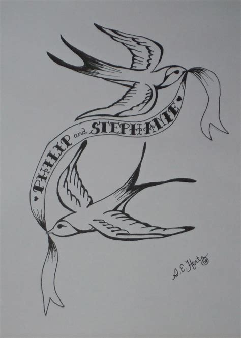 tattoo couple sketch tattoo swallow couple with custom names on scroll drawing