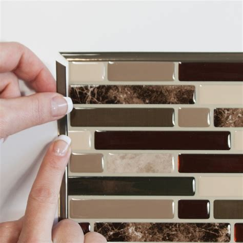 smart tiles stainless 10 625 in w x 10 00 in h peel and smart tiles com tile design ideas