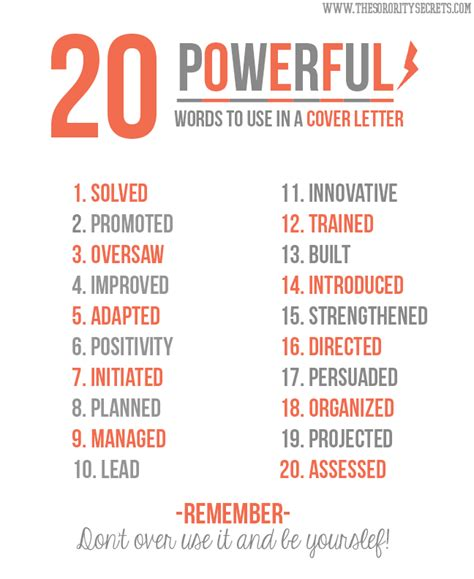 Words To Use On A Resume by The Sorority Secrets 20 Powerful Words To Use In A Resume