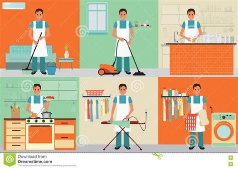Kitchen Collection Jobs House Husband Cleaning Cartoon Vector Cartoondealer Com