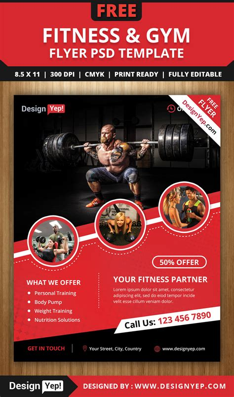 free fitness gym flyer psd template designyep