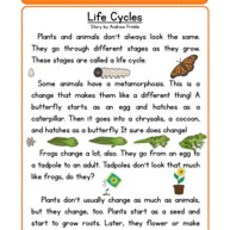 Second Grade Science Worksheets by Second Grade Reading Comprehension Worksheet