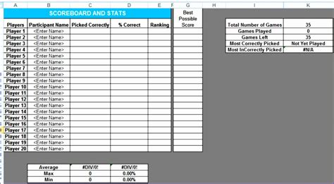 12 Football Pool Excel Template Exceltemplates Exceltemplates Excel Football Template