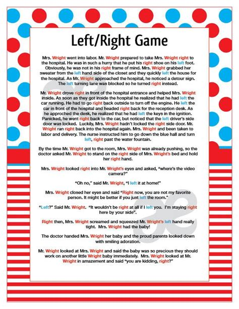 Left Right Baby Shower Printable by Dr Suess Baby Shower Kara S Ideas Dr Seuss Birthday