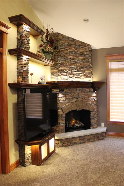 Faux Stacked Fireplace by Stunning Stacked Fireplace Build Creative Faux Panels