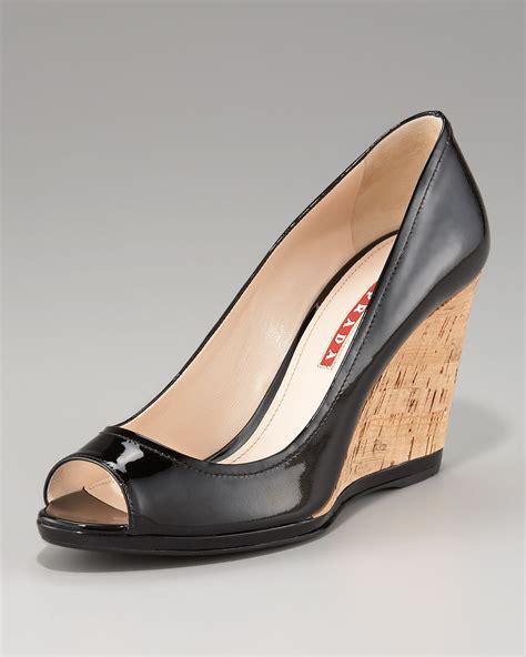 Brenda Open Toe Back Heels prada peep toe wedge in black lyst